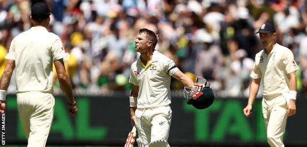 David Warner appeared to exchange words with England's fielders after bringing up his century