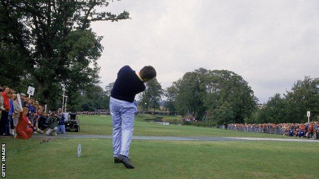 Seve Ballesteros drives the 10th green at The Belfry at the Ryder Cup in 1985