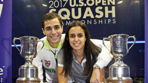 Squash couple Ali Farag and Nour El Tayeb