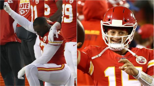 Alex Okafor took a knee during the national anthem and when the season started Patrick Mahomes (right) was once again key for the Chiefs