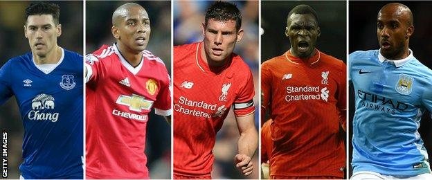 Gareth Barry, Ashley Young, James Milner, Christian Benteke, Fabian Delph