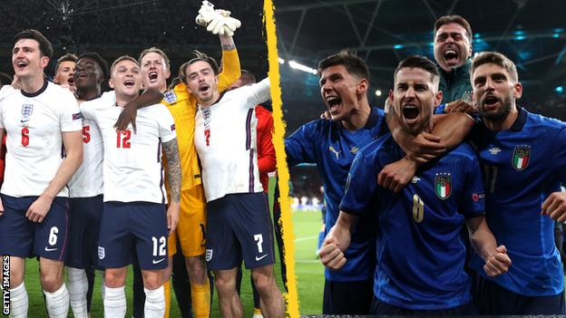 England and Italy players celebrate reaching the Euro 2020 final