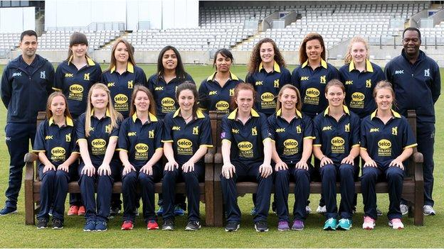 Darren Franklin (back row, far left) will be starting his fourth season in charge of Warwickshire's women's cricketers