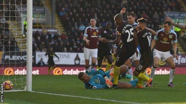 Man City striker Sergio Aguero equalises for his side at Burnley