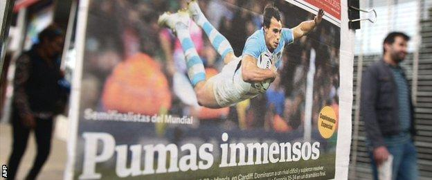 An Argentine newspaper in Buenos Aires highlights the Pumas' success on its front page