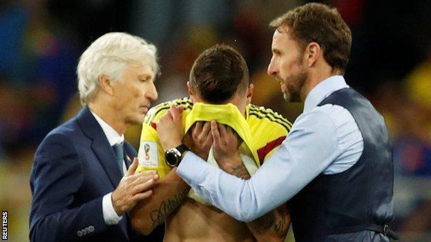 Gareth Southgate and Colombia coach Jose Pekerman console Mateus Uribe after the penalty shootout defeat to England