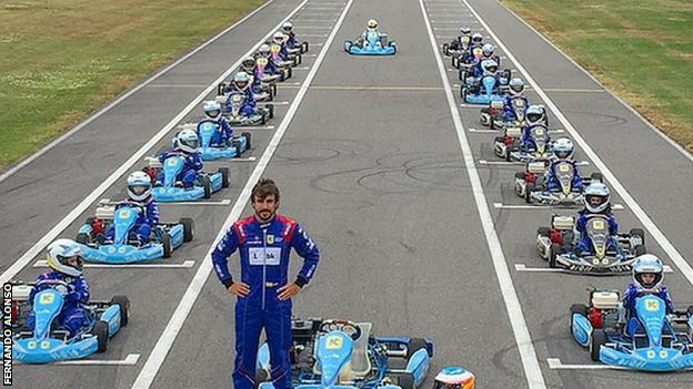 Fernando Alonso at the karting track at his museum