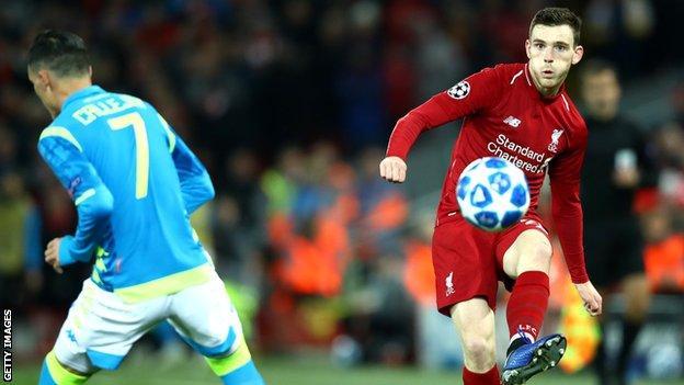 Liverpool left-back Andrew Robertson