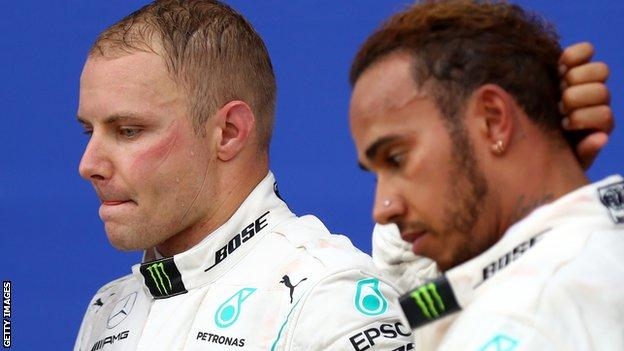 Valtteri Bottas (left) is third in the F1 World Championship standings, on 186 points, while Lewis Hamilton sits on 306