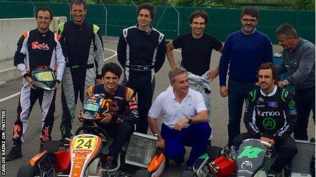 Carlos Sainz and fellow Spaniard Fernando Alonso enjoyed some karting at the Museo y Circuito