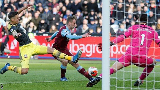 West Ham United's Jarrod Bowen scores against Southampton