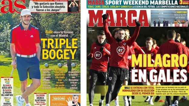 Spanish newspapers take a sarcastic tone in their coverage of Wales and Real Madrid forward Gareth Bale