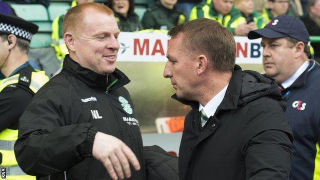 Hibs head coach Neil Lennon and Celtic counterpart Brendan Rodgers
