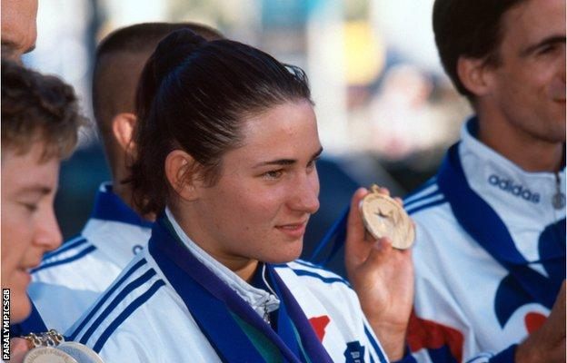 Sarah Bailey - as she was then - pictured with members of the British squad at the 1996 Atlanta Paralympics.  At 18, she won three gold medals in swimming