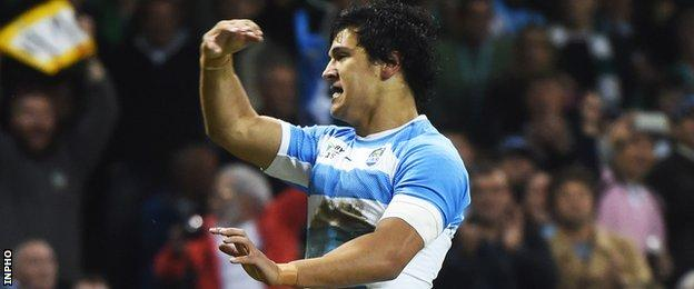 Matias Moroni celebrates after scoring Argentina's first try in the 43-20 win over Ireland