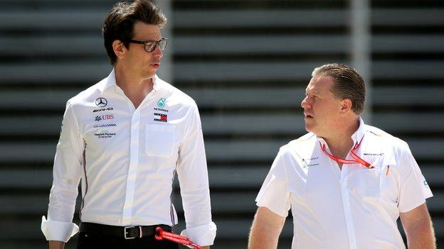 Mercedes GP Executive Director Toto Wolff and McLaren Chief Executive Officer Zak Brown t