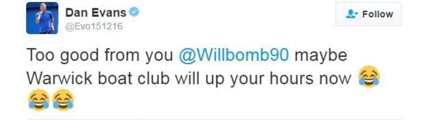 British number four Dan Evans tweets his congratulations to Marcus Willis