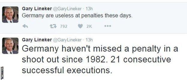 Gary Lineker tweets