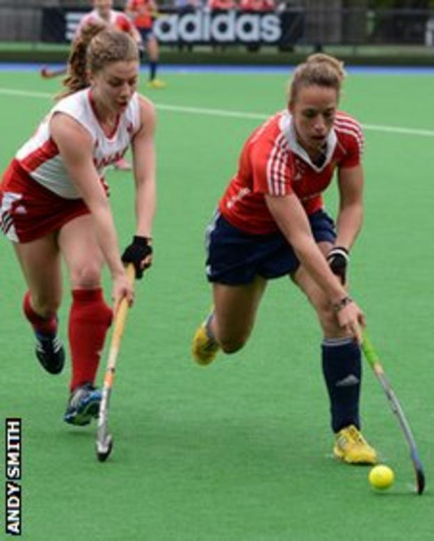 Natalie Sourisseau tackles England's Susie Townsend