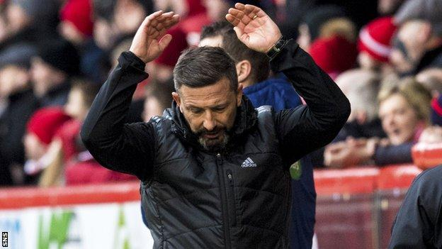 Derek McInnes reacts in frustration during