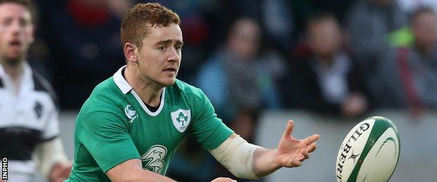 Paddy Jackson in action for Ireland against the Barbarians in a non-cap game in May