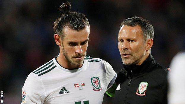Gareth Bale and Ryan Giggs at full-time