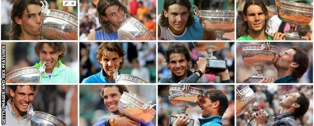 A collage of all 12 of Nadal's victory