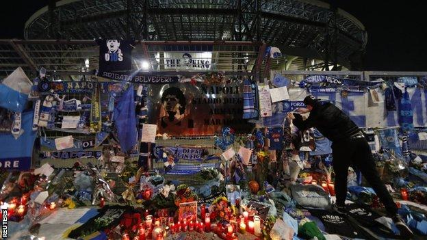 Tributes left in memory of Diego Maradona outside the San Paolo stadium