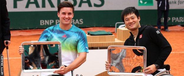 Gordon Reid and Shingo Kunieda with their French Open trophies