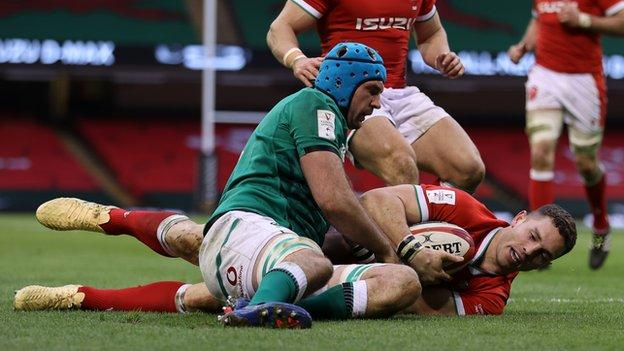 George North scored his 42nd Wales try in his 99th international against Ireland on the opening weekend of the 2021 Six Nations
