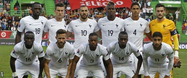France's starting line up for the friendly against Portugal