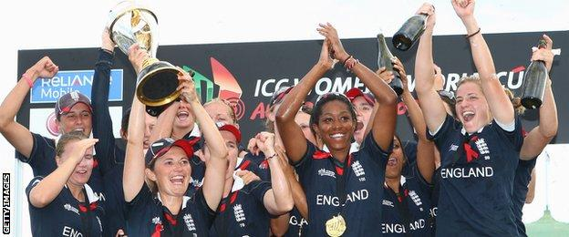 England celebrate their Women's World Cup win in 2009