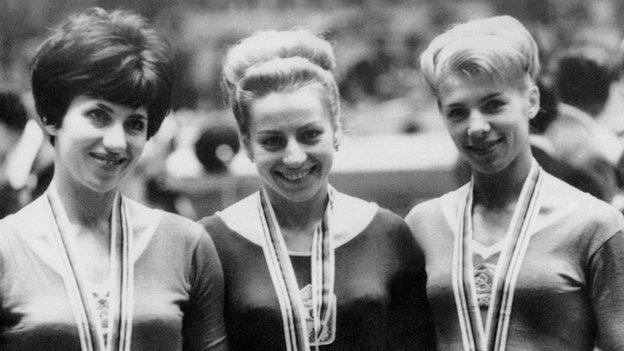 Vera Caslavska, winner of the gold medal in the individual beam competition in Tokyo 1964