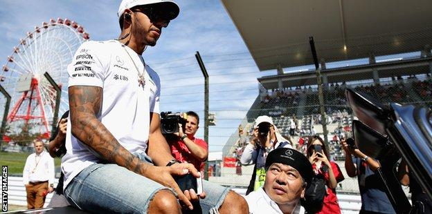 Mercedes F1 driver Lewis Hamilton at the Japanese Grand Prix