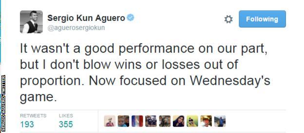 Sergio Aguero Tweet