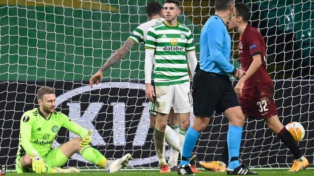 Celtic goalkeeper Scott Bain is left disappointed