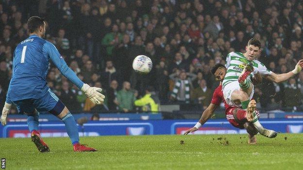 Ryan Christie scores for Celtic against Aberdeen