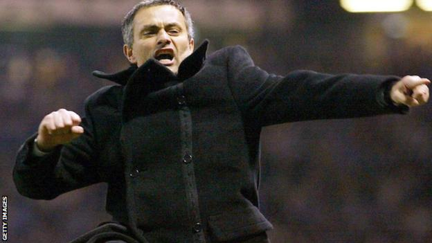 Jose Mourinho celebrates in 2004 as Porto manager