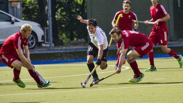Wales men's hockey team in action