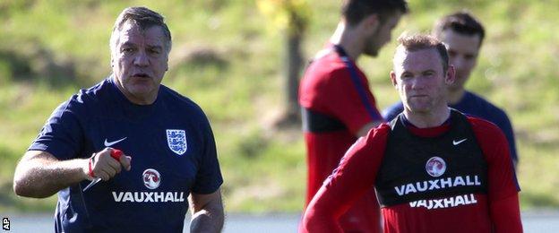 Sam Allardyce (left) and Wayne Rooney (right)