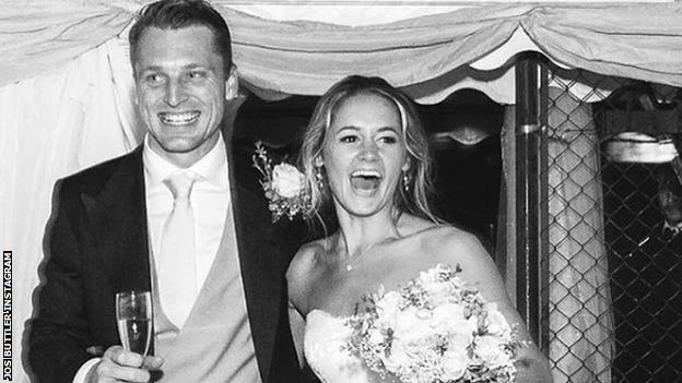 Jos and Louise Buttler, pictured on their wedding day