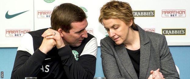 Hibernian manager Alan Stubbs and chief executive Leeann Dempster