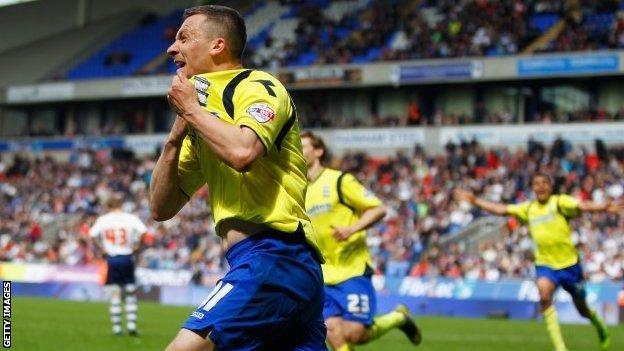 Paul Caddis celebrates after scoring Birmingham's crucial late equaliser