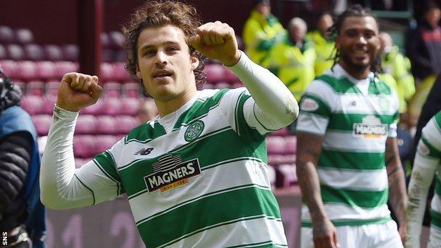 Erik Sviatchenko celebrates Celtic's victory over Hearts