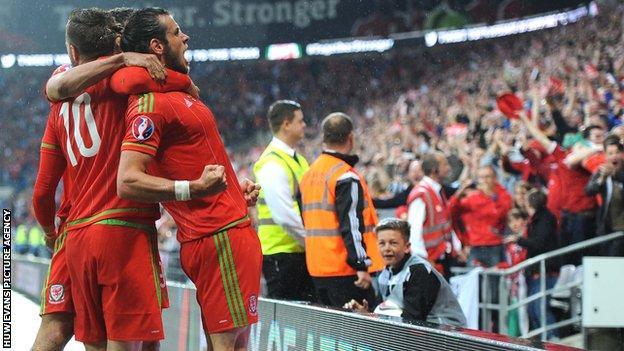 Gareth Bale celebrates his goal for Wales against Belgium in June 2015