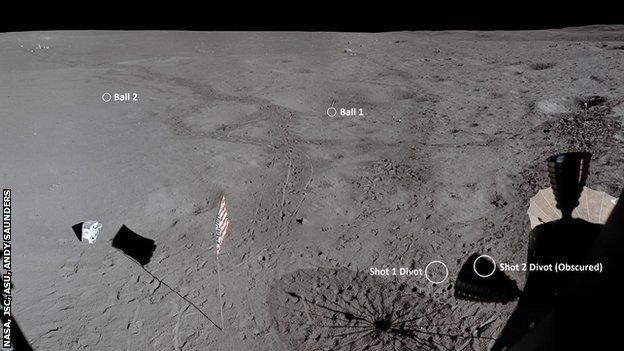 An image showing where Alan Shepard hit the golf balls from and to on the Moon