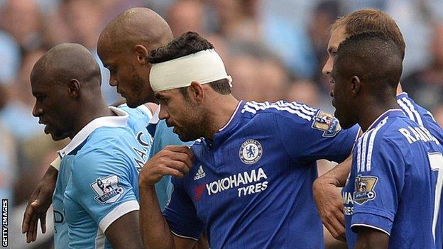 Manchester City and Chelsea players