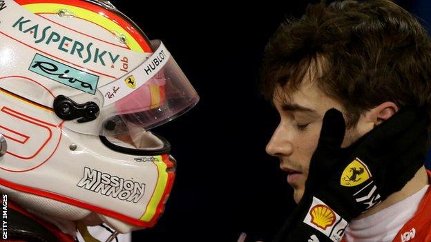 Sebastian Vettel consoles team-mate Charles Leclerc after the Bahrain Grand Prix