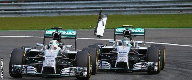 Rosberg and Hamilton collide in Belgium in 2014