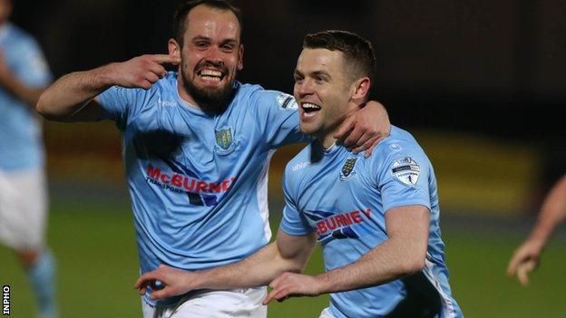 Shane McGinty and Tony Kane celebrate Ballymena's win over Glenavon